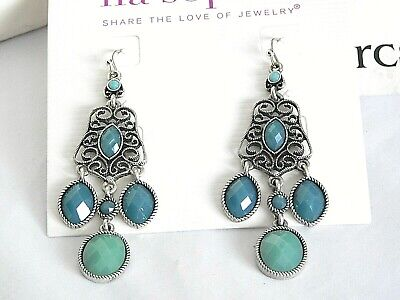 $ CDN19.45 • Buy Beautiful Lia Sophia  ST. TROPEZ  Chandelier Statement Earrings, Teal Blue, NWT