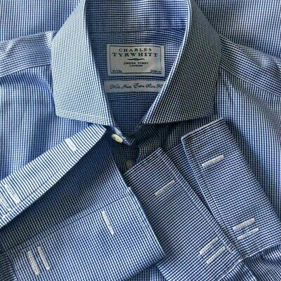 Charles Tyrwhitt Navy Blue Non Iron Extra Slim Fit Double Cuff Shirt Size 15.5  • 13.95£