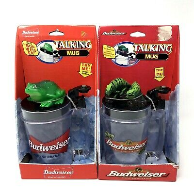 $ CDN57.47 • Buy Vintage Budweiser Lot Of 2 Stein Frog Lizards Talking Beer Mugs 1997 Gift New