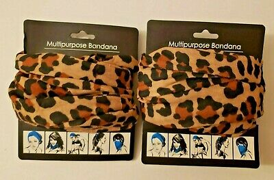 $7.99 • Buy 2 Pack Multi-use Face Mask Tube Scarf Bandana Head Neck Gaiter Snood Leopard