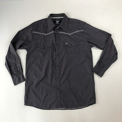 $18.97 • Buy Mens Cowboy Hardware Embroidered Diamonds Gray Western Pearl Snap L/S Shirt Sz L