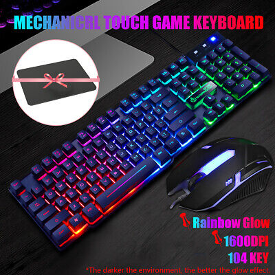 AU24.99 • Buy Gaming Mechanical Keyboard And Mouse Set Illuminated LED Backlight USB PC Laptop