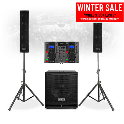 VX880 Complete Mobile DJ Speaker System PA With Twin CD Mixer Player, Microphone • 589£