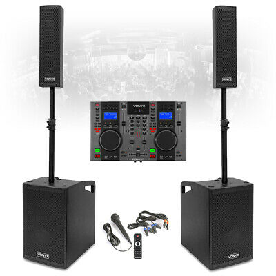 VX1050 Complete Mobile DJ Speaker System PA With Twin CD Mixer Player Microphone • 679£