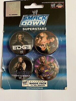4x Wwe Wrestling Snack Down Pin Button Badges Party Bag Fillers • 3.99£