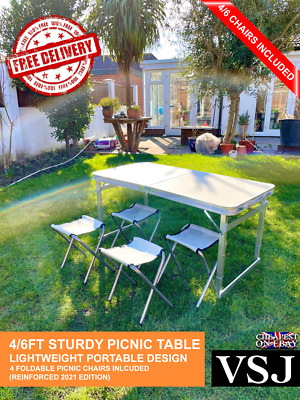 6ft Heavy Duty Folding Table Portable For Indoor Camping Garden Party With Chair • 29.99£