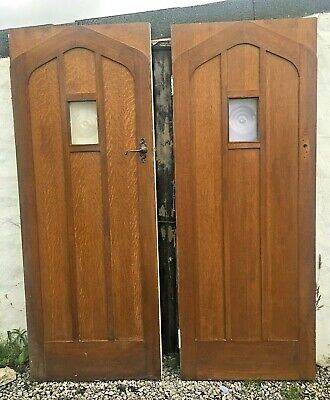 Pair Or 2 X Not Solid Oak Wooden Porch Interior Or Front Exterior Gothic Doors • 295£