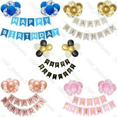 £2.95 • Buy Happy Birthday Banner Decorations Bunting Gold Balloons Hanging Party Rose UK