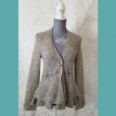 $ CDN50 • Buy Rosie Neira Gray Lace Knit Button Front Ribbon Cardigan Tiered Hem | Women's S