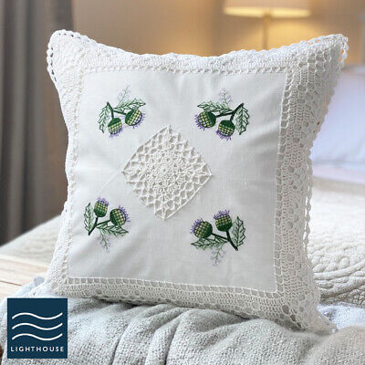 Pair Of Soft White Cotton Floral Country Cottage 17  Cushion Covers Lace Knitted • 9.95£