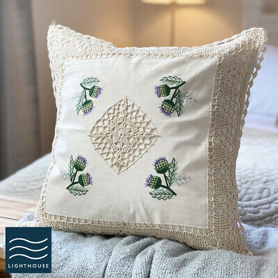 Pair Of Soft Cream Ivory Cotton Floral Country Cottage 17  Cushion Covers Lace • 9.95£