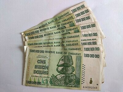 Zimbabwe 10xone  Billion Dollars Banknotes Used • 15£