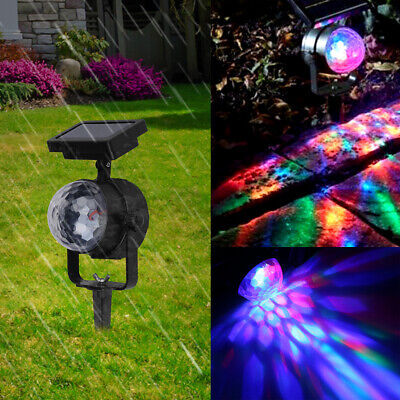 Solar LED Carnival Moving Colour Changing Spotlight Garden Party Light Outdoor • 8.99£