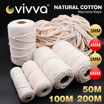 AU14.88 • Buy Natural Cotton Rope Cord String Twisted Beige Craft Macrame Artisan 3/4/5/6mm