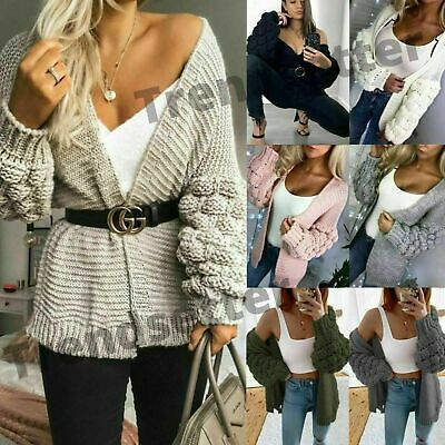 Ladies Womens Bubble Bobble Sleeve Knitted Cardigan Chunky Knit Jumper Jacket • 15.90£