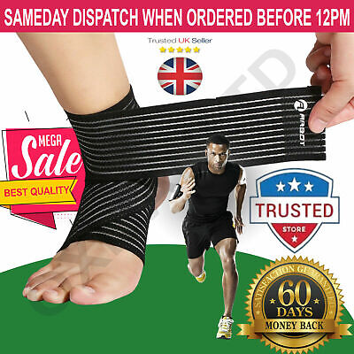 New Ankle Foot Support Strap Adjustable Elastic Compression Bandage Wrap Sports • 3.99£