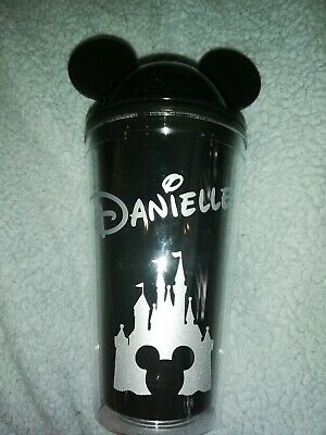 £10 • Buy Personalised Mickey Ear Cup With Straw. Red Green Yellow Pink Black Blue Purple