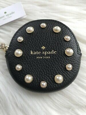 $ CDN46.12 • Buy New Kate Spade Circle Pearl Leather Black Coin Purse Key Chain Key Fob Cute Gift