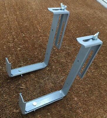 *new*one Pair Balcony Brackets Strong Adjustable Trough Fence Brick Wall Grey • 12.50£