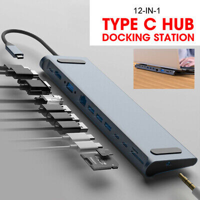 12-In-1 Type C HUB Docking Station To USB 3.0 HDMI Adapter For Macbook ASUS DELL • 35.99£