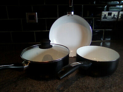 3 Pc Black Gloss Non Stick Pan Set Frying Pan Ceramic Interior EX DISPLAY • 26.99£