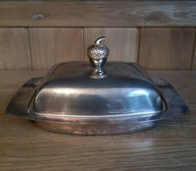 Vintage Silver Plated Butter Dish With Original Glass Insert Acorn Top  • 12.99£
