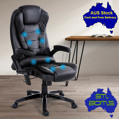 AU281.50 • Buy 8 Point Massage Gamer Chair PU Leather Office Home Recliner Lumbar Comfy Exec