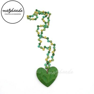 AU26.95 • Buy Green Heart Pendant Wooden Bead Necklace Fashion Ladies Gift For Her Statement