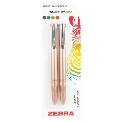 £3.73 • Buy Zebra Smooth 4 Colour Pen - Smooth Ballpoint Ink. Rose Gold Duo Pack