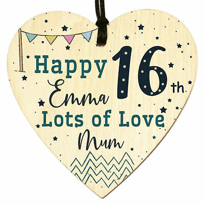 £3.98 • Buy Personalised Wooden Heart Plaque Sign For Sweet 16th Birthday Gift Son Daughter