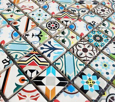 Nordic Style Multi Colour Ceramic Square Mosaic Tiles Moroccan Turkish Geometric • 8.98£