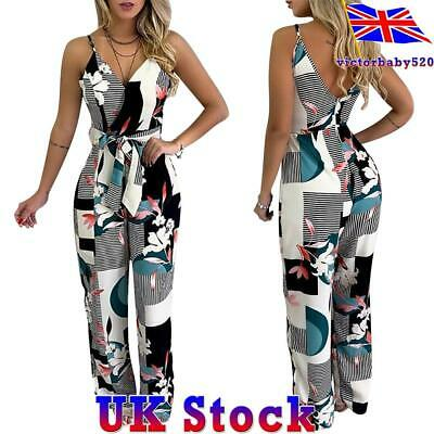Women Ladies Casual Printed Halter Jumpsuit V-neck Summer Beach Harem Playsuit • 11.49£