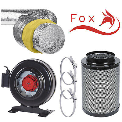 Fox RVK Acoustic Ducting Carbon Filter Kit Low Noise Odour Reducing Hydroponics  • 109.99£