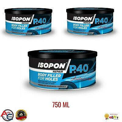 Isopon P40 Fibre Glass Body Filler 3 X 250ml Body Repair Paste 750ML! 24HRS POST • 33£