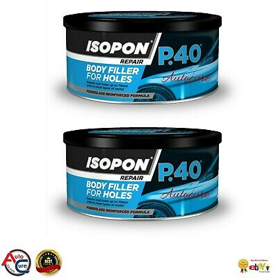 U-POL Davids Isopon P40 Fibre Glass Body Filler 2 X 250ml Body Repair Paste • 22.99£