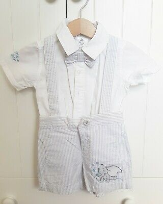 Baby Boy Grey Stripe Smart Summer Outfit White Shirt Bow Tie Shorts 6-9 Months • 4£