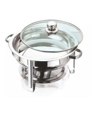 New Stainless Steel 4.5L Round Chaffing Dish With Glass Lid,Buffet,food,warmer • 27.99£