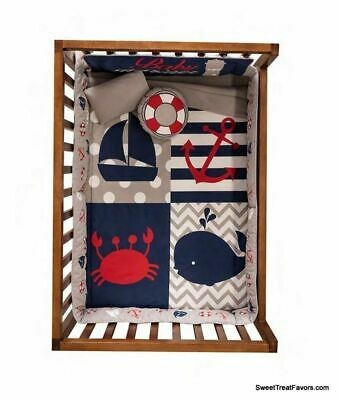 $115 • Buy BOAT ANCHOR WHALE SEA CRIB Bedding SET BABY BOYS Gift Shower ~6PCS Blue
