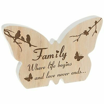 Small Wooden Butterfly Family Plaque Ornament Sentiment Gift Homeware Home • 5.49£