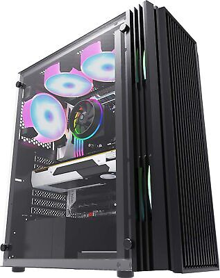 Pc Gaming Computer Case Atx Vented Mid Tower Tempered Glass - Usb 3.0 • 29.95£