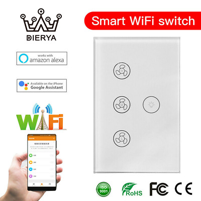 AU32.99 • Buy DIERYA WIFI Smart Ceiling Fan Wall Switch Touch Panel Fit For Alexa Google Home