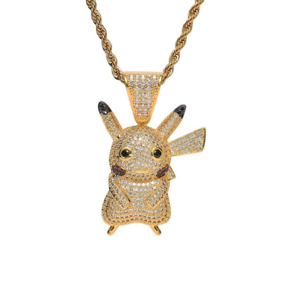 Pikachu Cz Pendant & Chain Necklace Iced Out Bling Silver Jewellery Pokemon • 19.99£