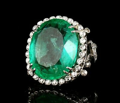 ART DECO NATURAL 29.66ctw COLOMBIAN EMERALD & DIAMOND HALO RING GIA CERTIFIED • 24,869.25£