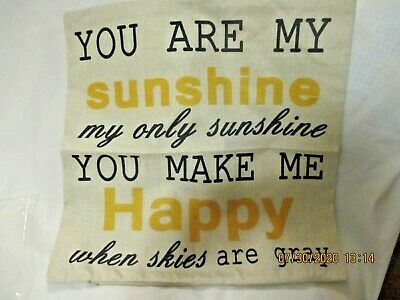 Pillow Cover Cotton LInen With Zipper You Are My Sunshine 17  Square • 8.89£