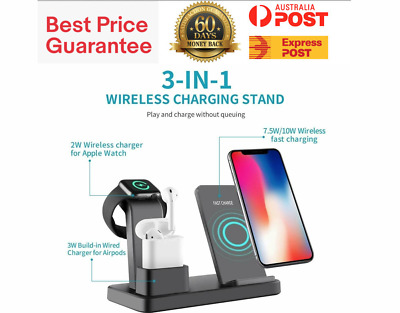 AU37.99 • Buy Qi Wireless Charger Fast Charging Dock Stand For Airpods Apple Watch IPhone 3in1
