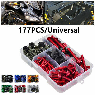 £16.14 • Buy 177pcs Fairing Bolts Kit Fastener Clips Screws For Motorcycle Sportbike 6 Colour