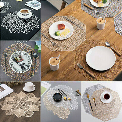 AU7.16 • Buy PVC Silver Gold Placemat Washable Flower Dining Wedding Table Place Mats Coaster