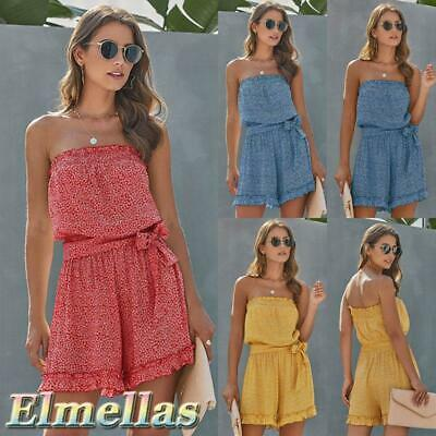 Ladies Jumpsuit Frills Shorts Bandeau Elasticated Summer Casual Womens Playsuit • 10.99£