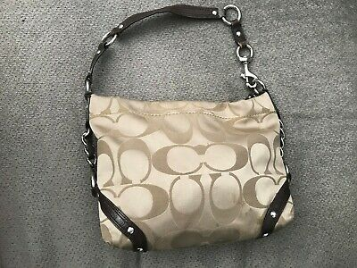$ CDN37.98 • Buy Coach Signature Sateen Carly Hobo Shoulder Bag Handbag F15250 Khaki Gold
