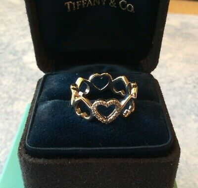 Authentic Tiffany & Co Diamond Open Heart Ring 18k White Gold Cost £1650 • 599£